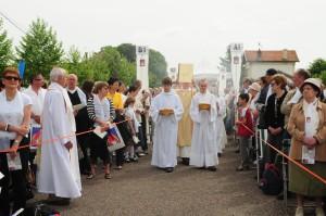 Présentation de l'évangéliaire par le diacre, Jean-Marie Moesch.